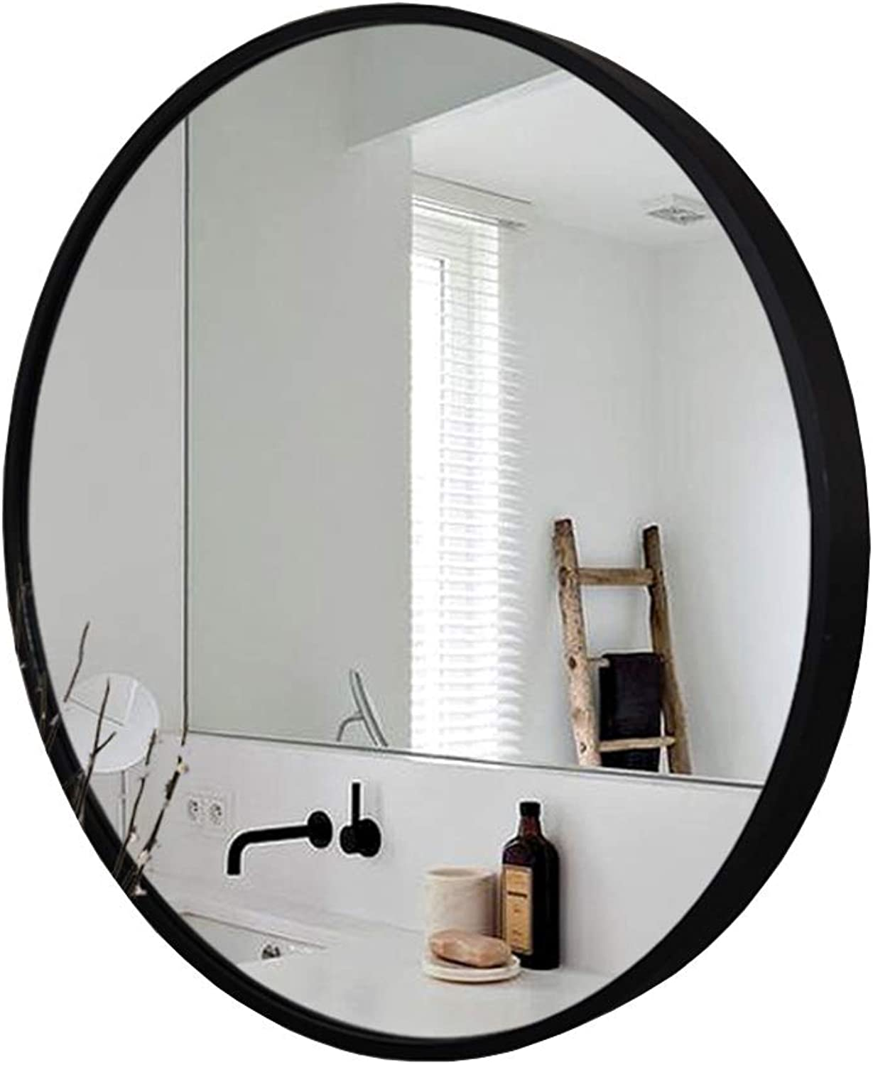 Modern Bathroom Metal Framed Mirror, Round Wall Accent Mirror,Decorative Mirror for Entryways, Washrooms, Living Rooms and More, Black