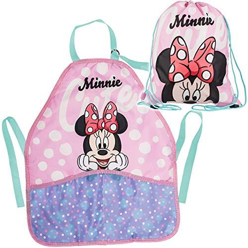 alles-meine.de GmbH 2 TLG. Set _ Kinderschürze / Schürze + Beutel - Disney - Minnie Mouse - Stoffbeutel - Sportbeutel - universal / beschichtet & wasserdicht - für Mädchen Mädche..