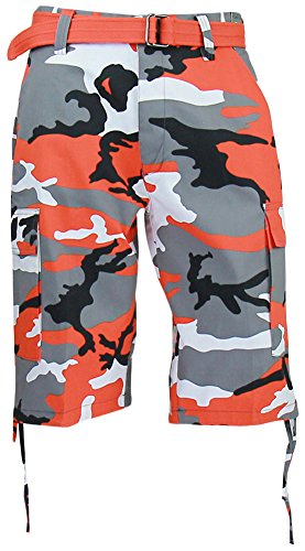 Regal Wear Mens Camouflage Cargo Shorts with Belt, Camo Orange, 34
