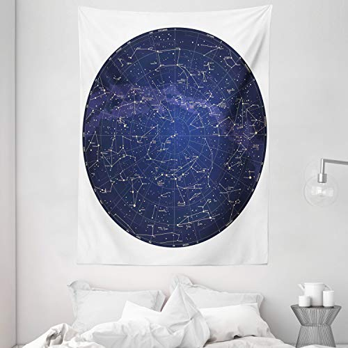 Ambesonne Constellation Tapestry, High Detailed Sky Map of Northern Hemisphere with Names of Stars, Wall Hanging for Bedroom Living Room Dorm Decor, 60' X 80', Blue Cream Violet Blue