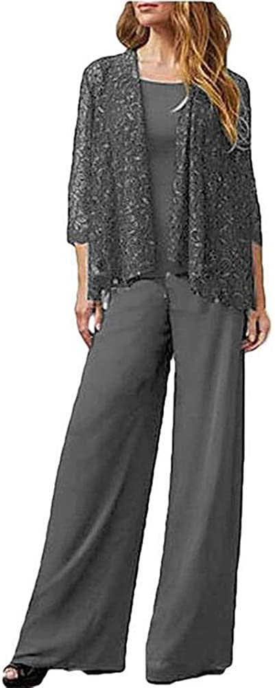 Women 3 Pieces Mother of The Bride Pantsuit with Jacket Plus Size Evening Gown