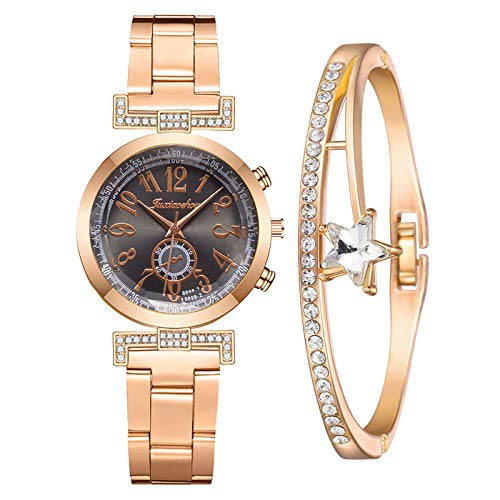 Kilwoe Juego de pulsera de reloj, reloj de cuarzo casual para mujer, reloj y pulsera para regalo para madre y novia.