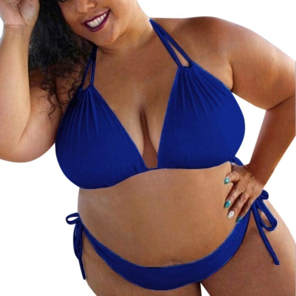 Gojendy Women Sexy Solid Color Two Pieces Swimsuit Halter Triangle Bra Plus Size Bikini Set Tie Side Bottom Swimwear