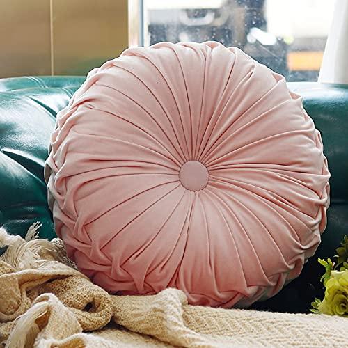 Boyigog Coussin rond en forme de citrouille - 38 cm - En velours - Pour la maison, le canapé, la chaise, le lit, la voiture - Rose