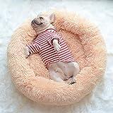 Muswanna ペットベッド ペットクッション ペットマット ペットソファ ラウンド型 丸型 ドーナツペットベッド ぐっすり眠る ふわふわ もこもこ 暖かい 滑り止め 防寒 寒さ対策 洗える 猫用 小型犬用 ペット用品 サイズ選択可 カラー選択可 (60x20cm, アプリコット)