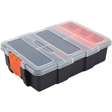 Caja de almacenamiento de herramientas de plástico, caja de organizador apilable impermeable portátil con compartimento divisor ajustable y extraíble para herramientas, tornillos, clavos, remaches