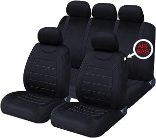 HZLX 9 piezas UniversalCojín del Asiento de Coche Tarea pesada 5 asientos Accesorios para interiores de automóviles Juegos de cubreasientos delanteras y traseras resistentes,Black