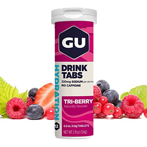 GU Brew – Tri Berry Hydration Drink Tabs (Electrolyte Tablets) Pack of 12)
