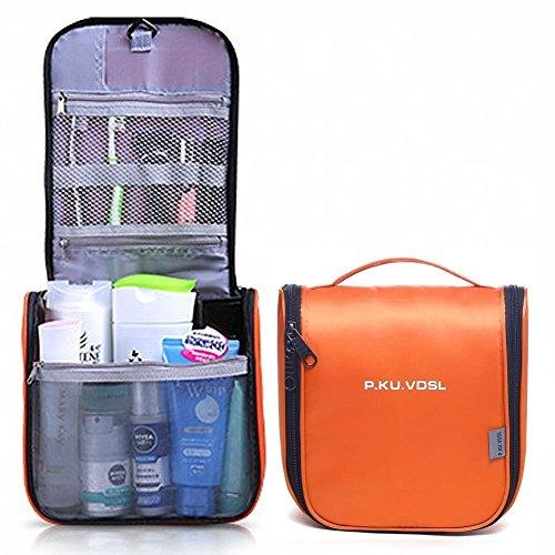 P.KU.VDSL® Appendere Borsa da Toilette Beauty Case da Viaggio Trucco di Caso Cosmetico Portatile Pratica Borsa Viaggi Outdoor (Orange)