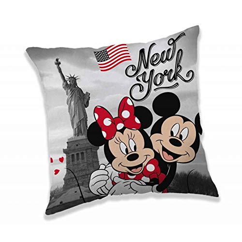 Disney Jerry Fabrics 18CS292 - Cuscino per bambini con Topolino e Minnie in New York, 40 x 40 cm