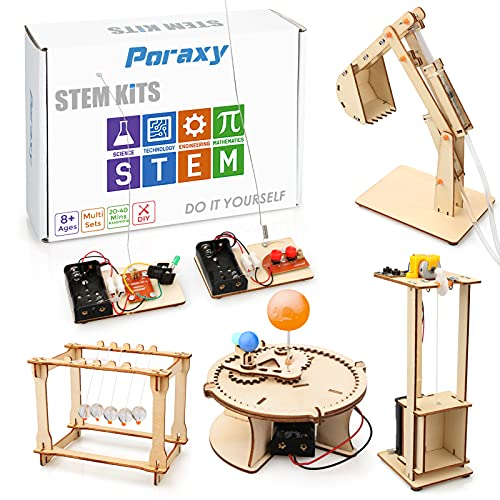 5 Set STEM Kit, Wooden Building Kits, Assembly 3D Building Blocks, Educational DIY STEM Toys ,...