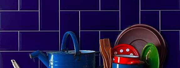 Cobalt Blue 4x8 Glossy Beveled Subway Tile (Box of 11.11 sq ft)