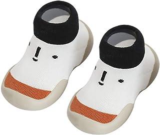 KTENME - Calcetines Antideslizantes para bebé, diseño de Dibujos Animados, Suela de Goma, Tubo Corto de algodón para niños de 0 a 4 años, algodón, White-c, 11/12cm