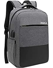 XQXA Mochila para Ordenador portátil con Puerto de Carga USB y Puerto para Auriculares,Mochila Hombre para Estudiantes de Colegio y Universidad, Compatible con portátil de 15,6 Pulgadas