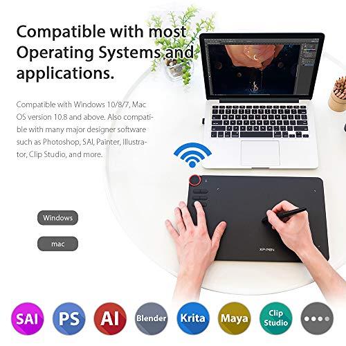 XP-PEN Tavoletta Grafica Deco 03 Wireless Connessione Senza Fili 6 Scorciatoie Personalizzabili con Stilo P05 8192 Livelli