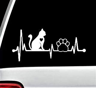 Cat Decal for Car Heartbeat Lifeline Paw Sticker 8 Inch BG 147