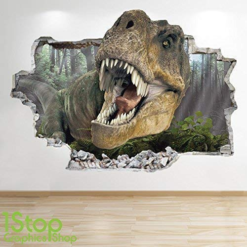 1Stop Graphics Shop DINOSAUR WALL STICKER 3D LOOK - BEDROOM LOUNGE NATURE ANIMAL WALL DECAL Z722 Size: Large