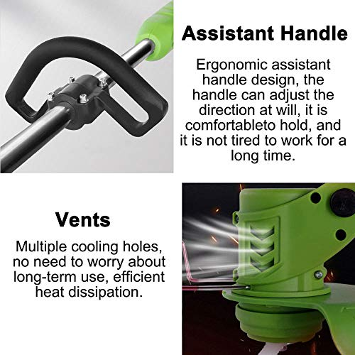 Cordless String Trimmer and Lawn Edger 24V Weedeater Weed Grass Trimmer with 6in Saw Blade for Lawn Trimming, Lawn Care, Weed, Weed Wacker Battery Powered,Green