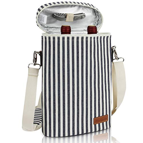 ZORMY 2 bottle insulated wine tote bag, Wine Carrier Travel Padded Cooler Bag with Shoulder Strap & Corkscrew Opener, Perfect Wine Lover's Gift, Great for Picnics and Outdoor Entertaining Stripe