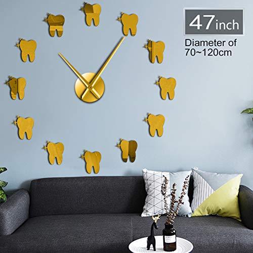 N / A DIY Wanduhr 3D Zahnspiegel 3D DIY Wanduhr Uhr Zähne Geschenk männlich oder weiblich oder Hygieniker Zeichen Zahnarztpraxis Wand dekorativ