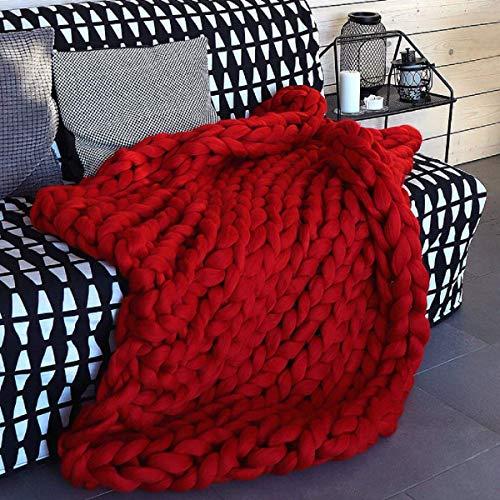 Lavorata Lana Grossa Coperta, Coperte Ingombranti Maglia con Cavo in Cotone Filato Morbido Fatto Mano Rosso 180×200cm