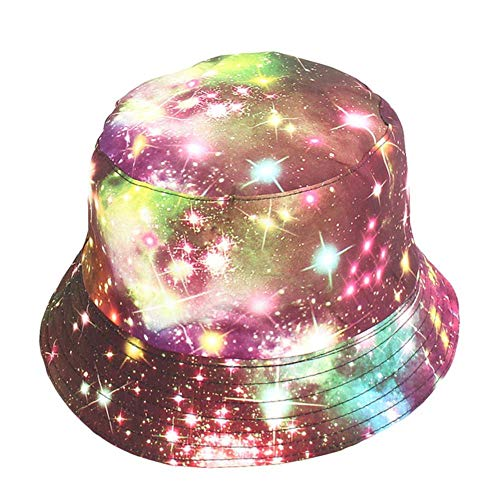 zwbaobei Bucket Hat Mujeres Hombres Stars Print Canvas Plegable Outdoor Bucket Hats Sun Cap, Rojo, Talla Única