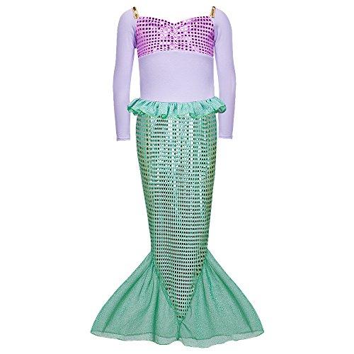 Daxiang, costume autunnale da principessa sirena, maniche lunghe, vestito di Halloween per bambine verde Green (9-10 Anni)