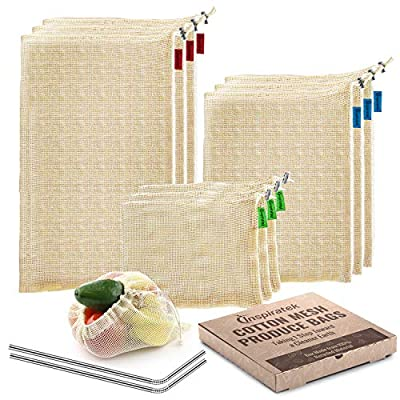 Reusable Produce Bags (Set Of 9) + Bonus Stainless Steel Straws - Premium Organic Cotton Mesh Grocery Bag with Drawstring - Eco Friendly and Washable, Net Zero Reuseable and for Vegetable or Veggie