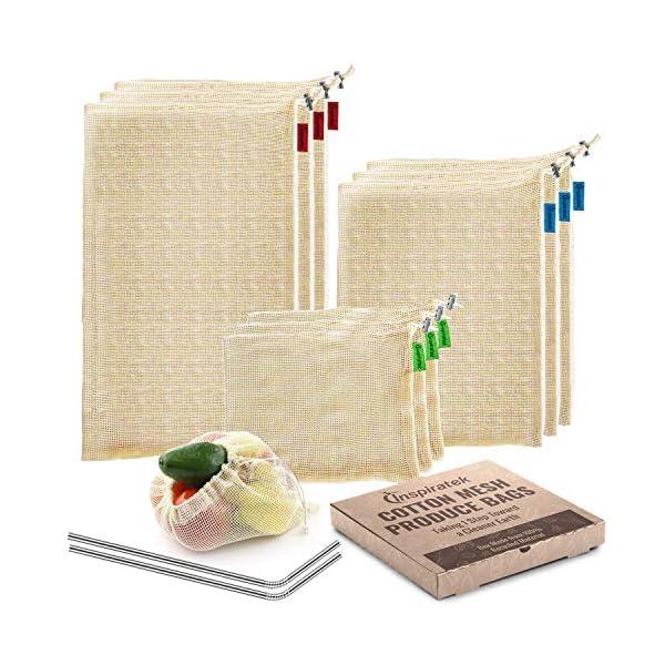 Reusable Produce Bags (Set Of 9) + Bonus Stainless Steel Straws - Premium Organic Cotton Mesh Grocery Bag with…