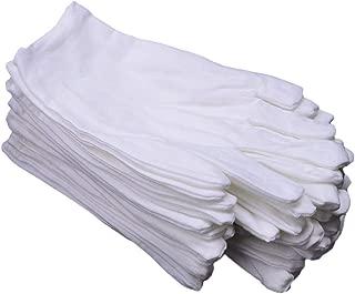 CTKcom 6 Pairs White Soft 100% Cotton Gloves,Large Size for, White, Size 6.0
