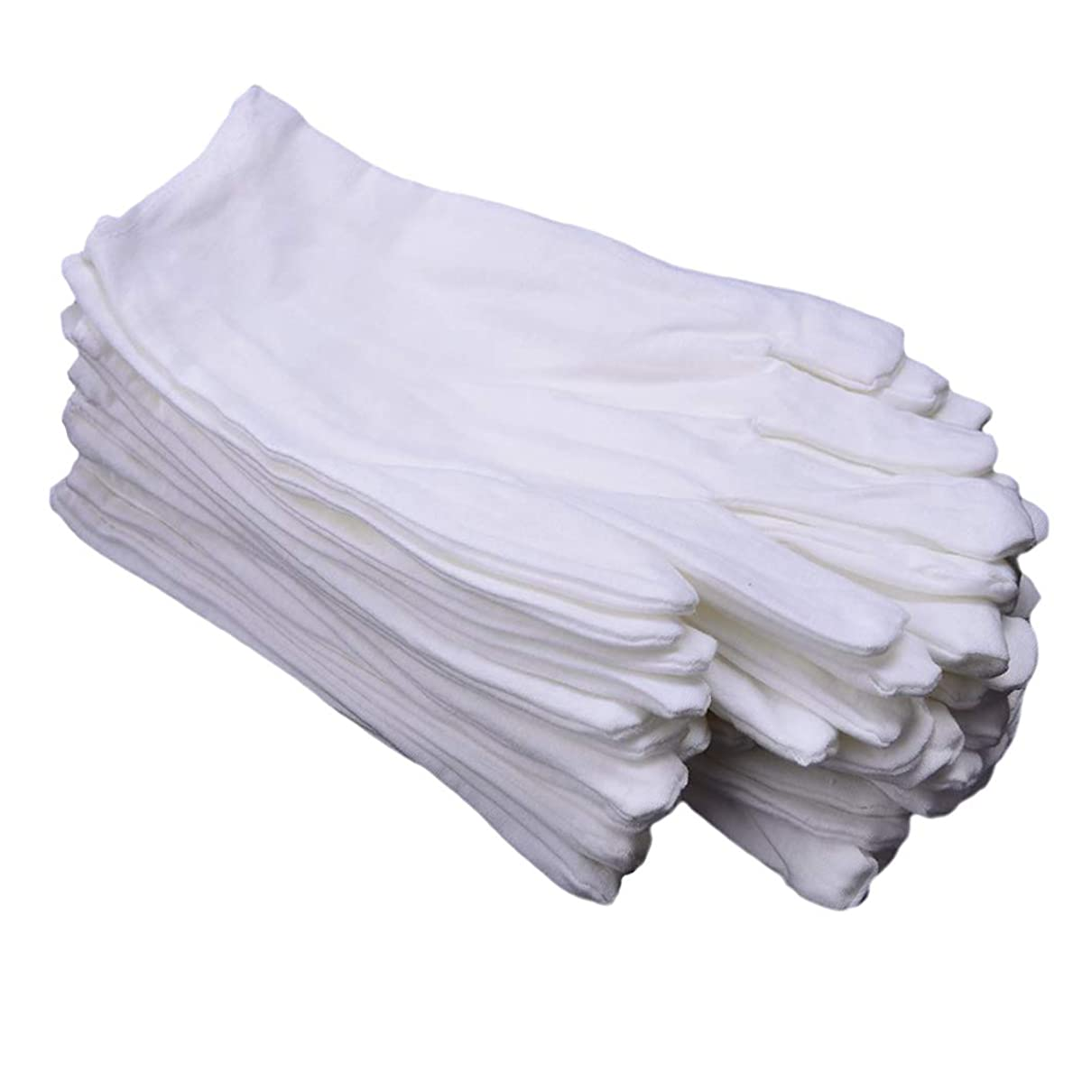 CTKcom 6 Pairs White Soft 100% Cotton Gloves,Large Size for Work/Lining Glove,Coin Jewelry Silver Inspection Gloves(6 Pairs)