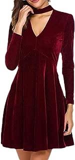Gocgt Womens Solid Color V Neck Elegant Velvet Casual Loose Long Sleeve Loose Winter A Line Dresses