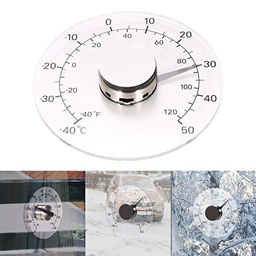 OurLeeme Thermomètre de fenêtre murale, extérieur Thermomètre de température transparent domestique domestique sans batterie auto adhésif étanche clair compteur de surveillance de la température