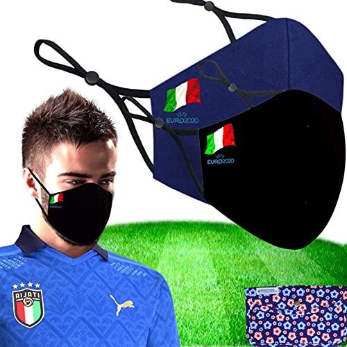 Cussi - Maschera in tessuto igienico riutilizzabile omologata UNE 0065:20, lavabile fino a 20 cicli-pack 2 maschere EuroCup Calcio, astuccio in tessuto, filtri extra (blu - taglia M, L-BANDERA ITALIA)