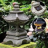 Uziqueif Japanische Gartenlaterne, Gartenlampe Solar Pagode Gartendeko Laterne Zen Garten Solarlaterne Wasserdicht Outdoor Lampen Vintage Palastlampe Garten Skulpturen 17 * 34cm,Grau
