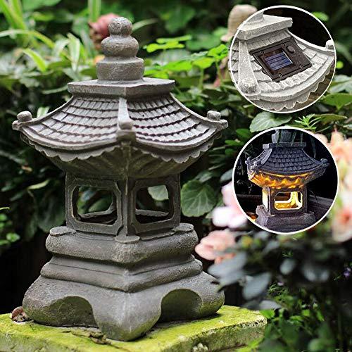 Uziqueif Japanese Garden Ornaments Zen Pagoda Solar Lanterns Outdoor Garden Sculptures Waterproof Chinese Lantern Four Corner Palace Lamp Garden Decorative 1734cm,Gray