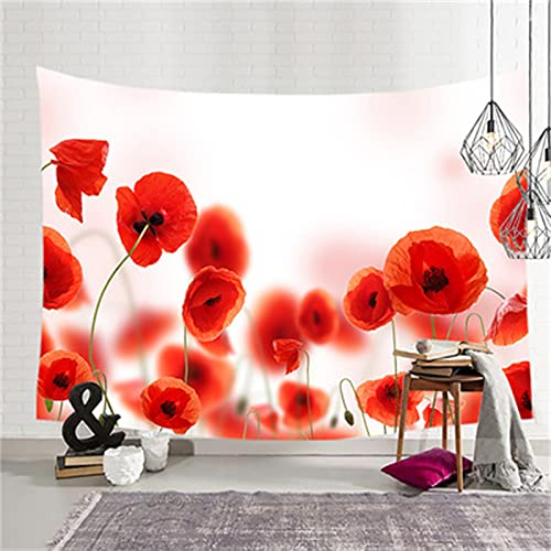YYRAIN Tapiz Estampado De Flores Rojas Fondo De Pared para El Hogar Tapiz De Pared De Pasillo Tapiz De Regalo 78x59 Inch {200x150cm} E