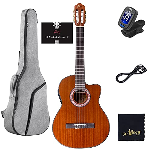 WINZZ 39 Inches Cutaway Nylon-string Classical Electric Guitar Build-in Pickup Kit Set Online Lessons