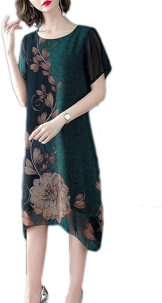 Dress, Women's Cocktail Formal Swing Dress Female Large Size Print Long Section Irregular Skirt 5 Colors 5 Sizes Sleeveless Slim Business Pencil (Color : E, Size : XXXL)