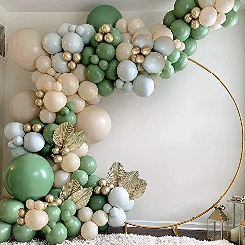 Ballons Guirlande Arche Kit Vert Sauge , Vert Olive Gris Gold Ballons Pour Baby Shower, Mariage, Garçons Filles Femmes Hommes Décorations De Fête dAnniversaire (Or Vert)