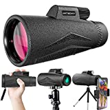 ArtGoKiy Monocular telescope,12X50 ED Lens Telescopes for Adults with Smartphone Adapter & Tripod, Super Bright and Large View Portable for Hiking Gear, Bird Watching, Hunting, Travelling (Waterproof)
