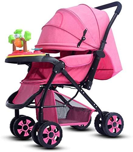 Landaus Poussette Transport, Compact Convertible Poussette Poussette Portable Pram Transport Voyage, Shopping Fournitures pour bébé ( Color : Pink )