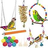 NAMIS Juguetes de Loro Pájaro 17pcs Juguetes para Pájaros Juguete Colgante para Mascotas con Campanas y Columpios Juguetes Agapornis para pequeños y medianos Loros de Aves, periquitos, pinzones