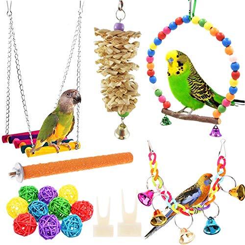 Giochi per Uccelli Pappagalli 17 Pezzi Giocattoli Per Pappagalli Per Uccelli con Giocattoli Trespoli e Masticare e Campana Per pappagalli, inseparabili, parrocchetti, ara, fringuelli e altri uccelli