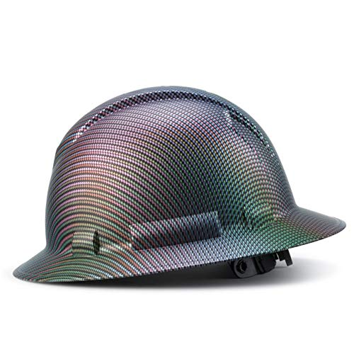 Full Brim Customized Ridgeline ABS Hard Hat, Custom Color Weave Design Safety Helmet, with 6 Point Suspension, Flag Decal Included, by Acerpal