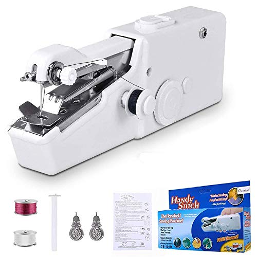 Handheld Sewing Machine Mini Sewing Professional Cordless Sewing Handheld Electric Household Tool - Quick Stitch Tool for Fabric Clothing or Kids Cloth Home Travel (White)