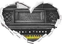 KAIASH 3Dウォールステッカーカラフルなキーが付いた古いピアノ3Dルックの壁またはドアのステッカーの壁のステッカーの壁のステッカーの壁の装飾の黒と白のハートの形92x64cm