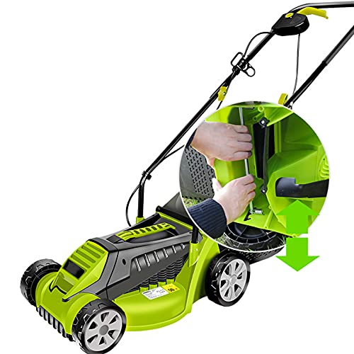 1600w Electric Lawn Mower With Brushless Motor&Double Lock Switch,2 In 1 Lawn Dethatcher Scarifier With 3 Working Depths And 30l Collection Bag - Perfect For Lawn Health And Maintenance,Green