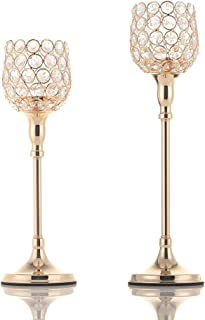 VINCIGANT Pack of 2 Gold Pillar Candle Hoders/Candlesticks Centerpieces for Wedding Party Dinner Centerpiece Decoration