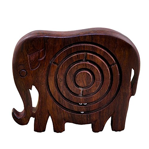 RoyaltyRoute Wooden Labyrinth Maze Puzzle Games Classic Brain Teasers in Elephant Shape - Gifts for Boys, Girls, Kids & Adults